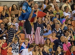 June 16, 2018 - Houston, Texas, US - Fans celebrate the USA try during the Emirates Summer Series 2018 match between USA Men's Team vs Scotland Men's Team at BBVA Compass Stadium, Houston, Texas (Credit Image: © Maria Lysaker via ZUMA Wire)