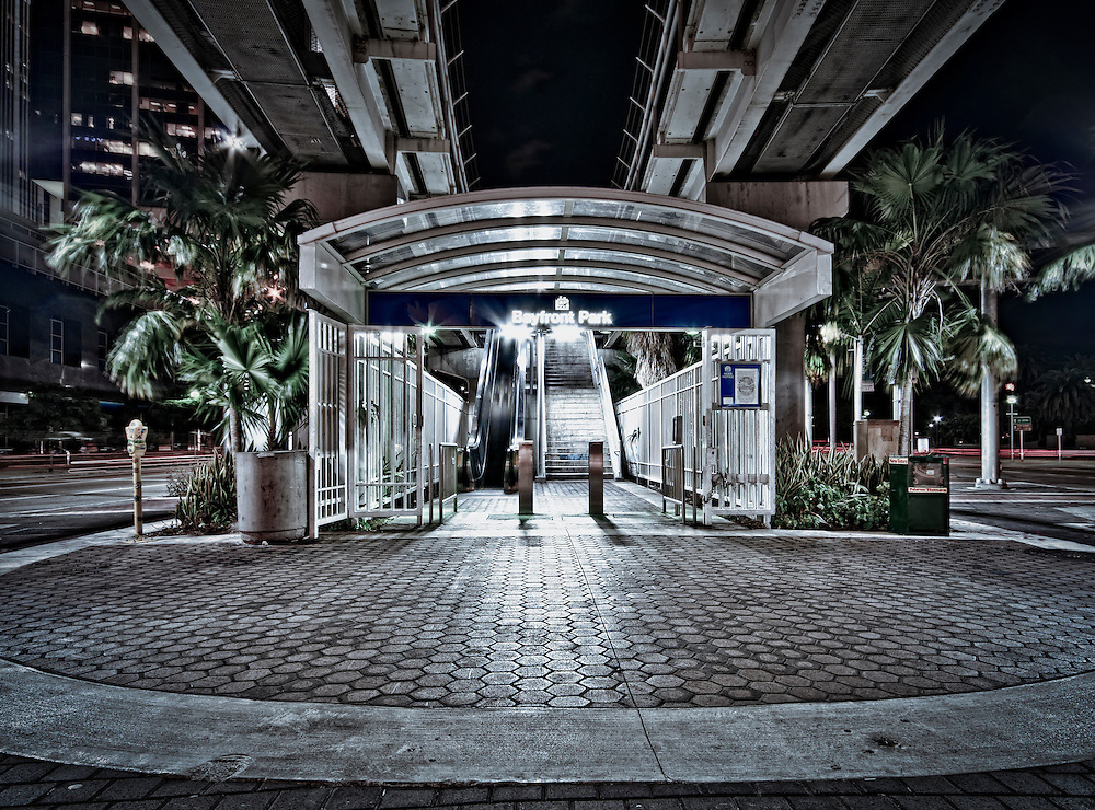 Bayfront Park Metromover Station in Downtown Miami at Night. Image Available for Editorial Only License.