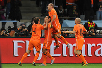 FOOTBALL - FIFA WORLD CUP 2010 - 1/2 FINAL - URUGUAY v NETHERLANDS - 6/07/2010 - JOY NETHERLANDS AFTER THE GOAL OF GIOVANNI VON BRONCKHORST (NED)<br /> PHOTO FRANCK FAUGERE / DPPI
