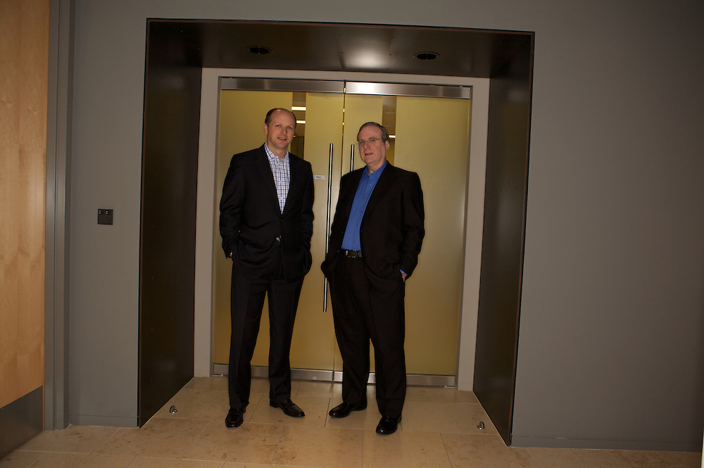 Lance Conn, left, and Paul Allen, at the Vulcan offices in Seattle, Wash., on Thursday, Dec. 6, 2007. Photo by Kevin P. Casey for the New York Times
