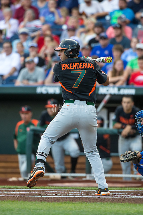 George Iskenderian (7) of the Miami Hurricanes bats during a game between the Miami Hurricanes and Florida Gators at TD Ameritrade Park on June 13, 2015 in Omaha, Nebraska. (Brace Hemmelgarn)
