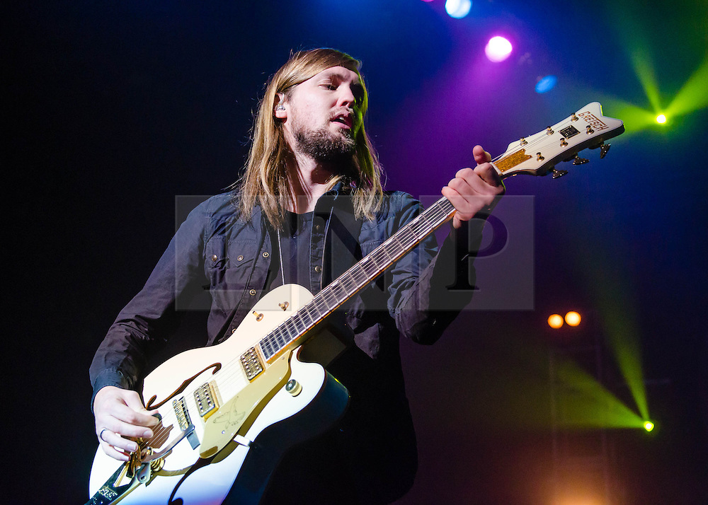 © Licensed to London News Pictures. 07/12/2012. London, UK.   Russell Marsden of Band of Skulls performing live at O2 Academy Brixton. Band of Skulls are an English alternative rock band from Southampton, consisting of Russell Marsden (guitar, vocals), Emma Richardson (bass, vocals), and Matt Hayward (drums).   Photo credit : Richard Isaac/LNP