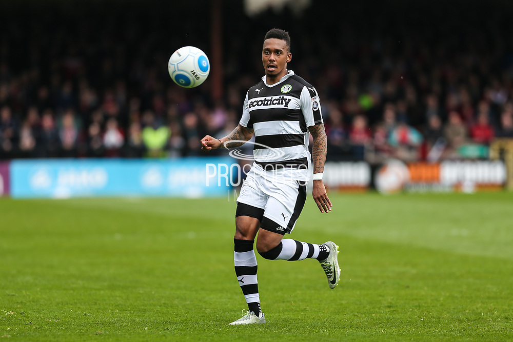 Forest Green Rovers Keanu Marsh-Brown(7) on the ball during the Vanarama National League match between York City and Forest Green Rovers at Bootham Crescent, York, England on 29 April 2017. Photo by Shane Healey.