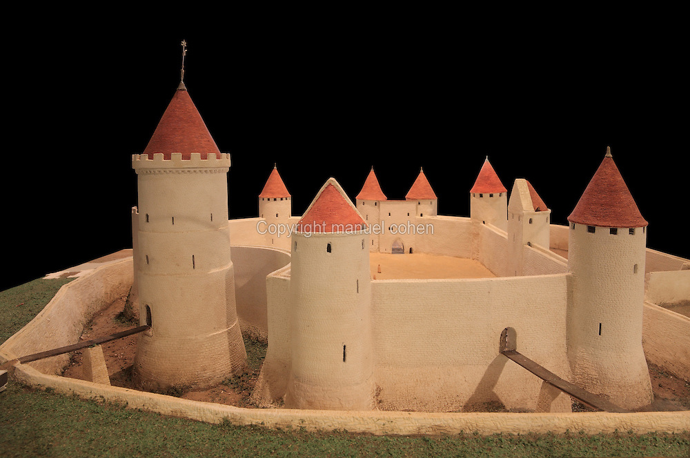 Model of the Chateau de Rouen, displayed in the Tour Jeanne d'Arc, or Joan of Arc Tower, the donjon or keep and only remaining part of the Chateau de Rouen, built 1204 by Philippe Auguste or King Philip II of France, in Rouen, Normandy, France. The castle originally consisted of a polygonal enclosure flanked by 10 towers, with a circular keep and surrounded by a dry moat. The Tour Jeanne-d'Arc was the site of Joan of Arc's trial and torture and is listed as a monument historique. Picture by Manuel Cohen