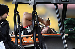 Chiefs Aidan Ross leaves the field injured against the Hurricanes in the Super Rugby match at Westpac Stadium, Napier, New Zealand, Friday, April 13, 2018. Credit:SNPA / Ross Setford