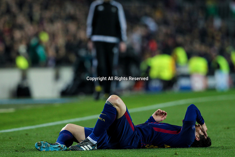 14th March 2018, Camp Nou, Barcelona, Spain; UEFA Champions League football, round of 16, 2nd leg, FC Barcelona versus Chelsea; Lionel Messi, #10 of Barcelona hitd the deck after a challenge