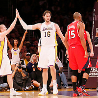 03 November 2013: Los Angeles Lakers power forward Pau Gasol (16) celebrates with Los Angeles Lakers point guard Steve Blake (5) during the Los Angeles Lakers 105-103 victory over the Atlanta Hawks at the Staples Center, Los Angeles, California, USA.