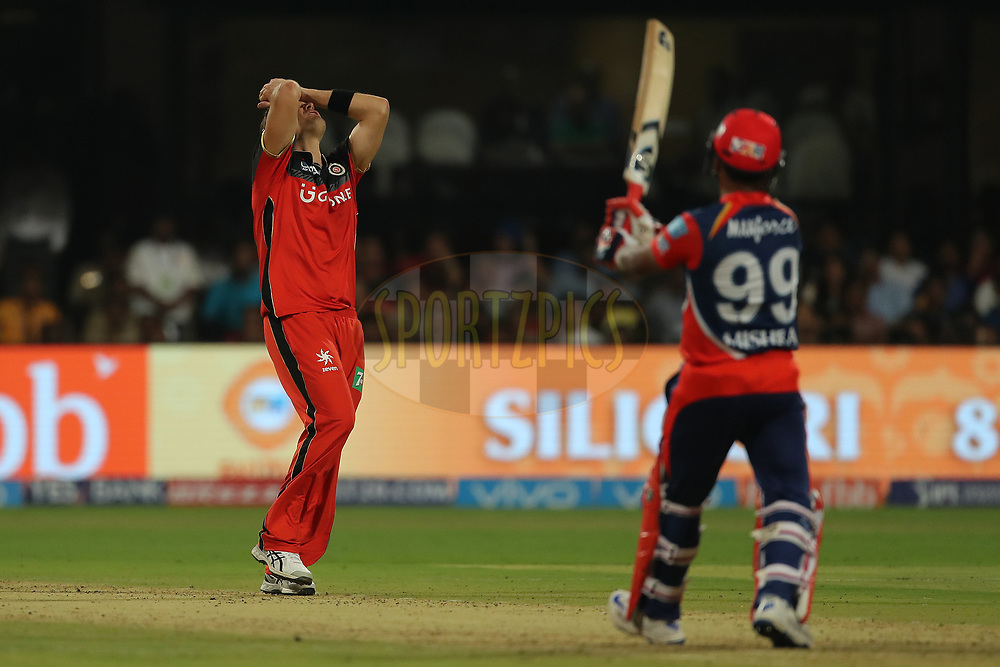 Shane Watson of the Royal Challengers Bangalore reacts after a delivery during match 5 of the Vivo 2017 Indian Premier League between the Royal Challengers Bangalore and the Delhi Daredevils held at the M.Chinnaswamy Stadium in Bangalore, India on the 8th April 2017<br /> <br /> Photo by Ron Gaunt - IPL - Sportzpics