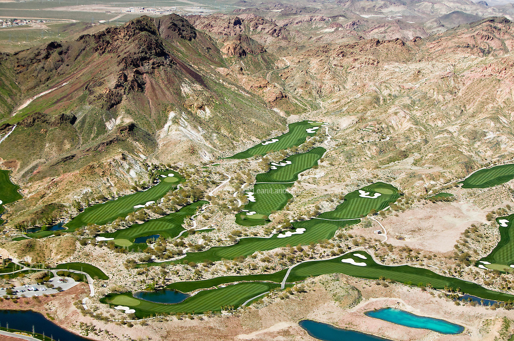 Golf courses in the Las Vegas metropolitan area account for 5 percent of the region's water usage.  Pictured is a section of the 71-hole Cascata Golf Course, which has managed to conserve 60 million gallons of water per year by increasing the aeration of the turf areas and replacing rye with Bermuda grass (which require less water) in some turf areas.