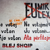 "Pristina, Kosovo 17 February 2011<br /> Graffiti opposing parallel Eulex-Unmik structures can be seen all over Pristina.<br /> After the Kosovo War and the 1999 NATO bombing of Yugoslavia, the territory of Kosovo came under the interim administration of the United Nations Mission in Kosovo (UNMIK), and most of those roles were assumed by the European Union Rule of Law Mission in Kosovo (EULEX) in December 2008. <br /> In February 2008 individual members of the Assembly of Kosovo declared Kosovo's independence as the Republic of Kosovo. Its independence is recognised by 75 UN member states. <br /> On 8 October 2008, upon request of Serbia, the UN General Assembly adopted a resolution asking the International Court of Justice for an advisory opinion on the issue of Kosovo's declaration of independence.<br /> On 22 July 2010, the ICJ ruled that Kosovo's declaration of independence did not violate international law, which its president said contains no ""prohibitions on declarations of independence"".<br /> Photo: Ezequiel Scagnetti"