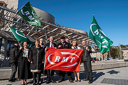 Pictured: Richard Leonard was joined by other MSPs inluding Jackie Baillie, Patrick Harvie, Claudia Beamish, Elaine Smith, Neil Finlay and others.tofly the flag of protest<br />