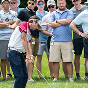 DUBLIN, OH - JUNE 04: PGA golfer Bubba Watson hits from the rough while surrounded by fans during the Memorial Tournament - Final Round on June 4, 2017 at Muirfield Village Golf Club in Dublin, Ohio (Photo by Khris Hale/Icon Sportswire)