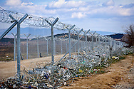 A view of the fence between Greece and the Republic of Macedonia  in Idomeni, 8 Febraury 2016.<br /> Hundreds of refugees arrive at Idomeni and cross the border between Greece and Macedonian on their journey to North Europe.