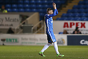 Goal scorer Peterborough United midfielder Harry Beautyman (16) applauds the fans as he is substituted  during the Sky Bet League 1 match between Peterborough United and Coventry City at London Road, Peterborough, England on 25 March 2016. Photo by Simon Davies.