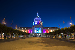 June 18, 2017 - San Francisco, United States - San Francisco City Hall lights up in rainbow color for Pride 2017 on June 18, 2017. (Credit Image: © Yichuan Cao/NurPhoto via ZUMA Press)