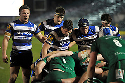 Sam Burgess of Bath Rugby (far left) in action during his first ever game as a rugby union forward - Photo mandatory by-line: Patrick Khachfe/JMP - Mobile: 07966 386802 22/12/2014 - SPORT - RUGBY UNION - Bath - Recreation Ground - Bath United v London Irish A - Aviva A-League