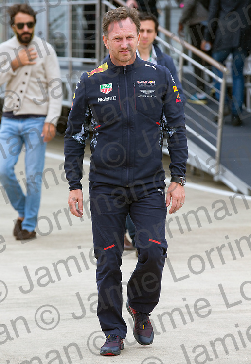 The 2017 Formula 1 Rolex British Grand Prix at Silverstone Circuit, Northamptonshire.<br /> <br /> Pictured: Red Bull team principal Christian Horner walks through the paddock at Silverstone Circuit.<br /> <br /> Jamie Lorriman<br /> mail@jamielorriman.co.uk<br /> www.jamielorriman.co.uk<br /> +44 7718 900288