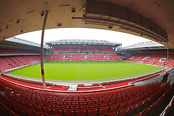 The view of the Anfield pitch from the Main Stand, centre of Block MD.