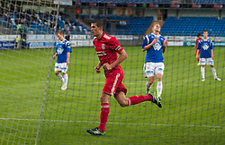 MOLDE, NORWAY - Wednesday, September 7, 2011: Liverpool's captain Conor Coady celebrates scoring the third goal against Molde from the penalty spot during the second NextGen Series Group 2 match at Aker Stadion. (Photo by Vegard Grott/Propaganda)