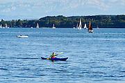 Boote am See, Überlingen, Bodensee, Baden-Württemberg, Deutschland