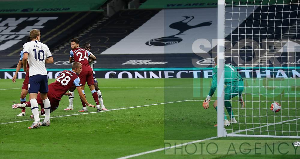 Tomas Soucek of West Ham United scores an own goal for the opening goal  during the Premier League match at the Tottenham Hotspur Stadium, London. Picture date: 23rd June 2020. Picture credit should read: David Klein/Sportimage