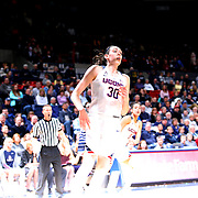 Breanna Stewart, UConn, is lit by a strobe flash during the UConn Vs SMU Women's College Basketball game at Gampel Pavilion, Storrs, Conn. 24th February 2016. Photo Tim Clayton