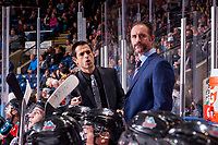 KELOWNA, CANADA - NOVEMBER 17: Kelowna Rockets' assistant coach calls down the bench beside head coach Jason Smith against the Lethbridge Hurricanes on November 17, 2017 at Prospera Place in Kelowna, British Columbia, Canada.  (Photo by Marissa Baecker/Shoot the Breeze)  *** Local Caption ***
