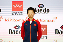 November 10, 2018 - Madrid, Madrid, Spain - Yin Xiaoyan (CHN) win the silver medal and the second place of the tournament of Female Kumite -61 Kg during the Finals of Karate World Championship celebrates in Wizink Center, Madrid, Spain, on November 10th, 2018. (Credit Image: © AFP7 via ZUMA Wire)