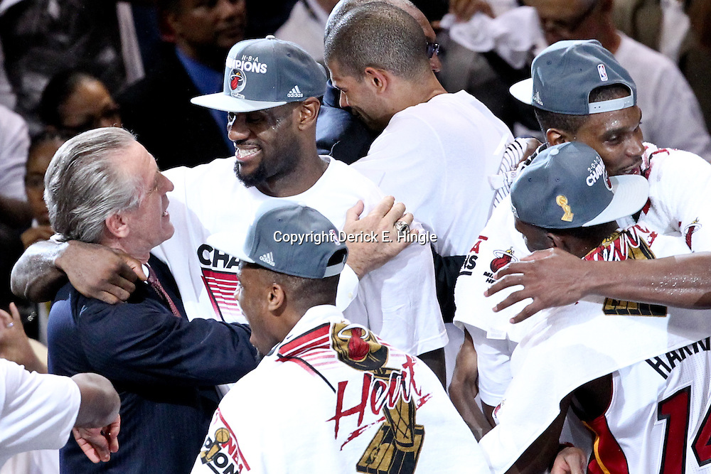 Jun 21, 2012; Miami, FL, USA; Miami Heat president Pat Riley celebrates with small forward LeBron James (6) after winning the 2012 NBA championship against the Oklahoma City Thunder at the American Airlines Arena. Miami won 121-106. Mandatory Credit: Derick E. Hingle-US PRESSWIRE