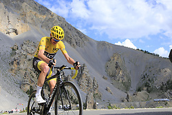 Yellow Jersey Chris Froome (GBR) Team Sky climbs through the Caisse Deserte on Col d'Izoard during Stage 18 of the 104th edition of the Tour de France 2017, running 179.5km from Briancon to the summit of Col d'Izoard, France. 20th July 2017.<br /> Picture: Eoin Clarke | Cyclefile<br /> <br /> All photos usage must carry mandatory copyright credit (© Cyclefile | Eoin Clarke)