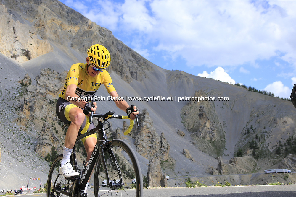Yellow Jersey Chris Froome (GBR) Team Sky climbs through the Caisse Deserte on Col d'Izoard during Stage 18 of the 104th edition of the Tour de France 2017, running 179.5km from Briancon to the summit of Col d'Izoard, France. 20th July 2017.<br /> Picture: Eoin Clarke | Cyclefile<br /> <br /> All photos usage must carry mandatory copyright credit (&copy; Cyclefile | Eoin Clarke)