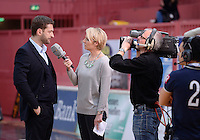 Basketball 1. Bundesliga  2013/2014 Walter Tigers Tuebingen - FC Bayern Muenchen    23.02.2014 Trainer Igor Perovic (li, Tigers) beim Sport 1 Interview