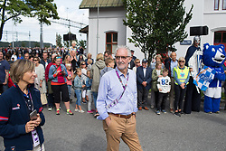 UCI President Brian Cookson waits for the peloton to pass on Stage 2 of the Ladies Tour of Norway - a 140.4 km road race, between Sarpsborg and Fredrikstad on August 19, 2017, in Ostfold, Norway. (Photo by Balint Hamvas/Velofocus.com)