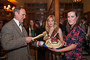 A.A.GILL; ANNA BADDELEY; FLEUR MACDONALD; , The Omnivore hosts the third Hatchet  Job of the Year Award. Sponsored by the Fish Society.  The Coach and Horses. Greek st. Soho. London. 11 February 2014.