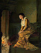 Dreaming: Young woman gazing into the fire. Illustration 1884.