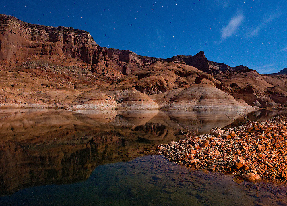 Sep. 1, 2012; Phoenix, AZ, USA; Detail view of West Canyon and the night stars in Lake Powell. Mandatory Credit: Jennifer Stewart-US