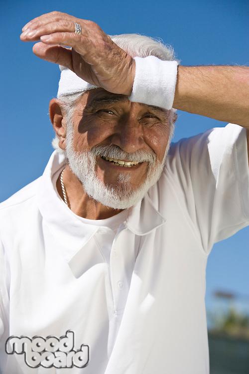 Tennis player sweating