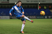 Billy Paynter (Hartlepool United) volleys the ball back into the Stevenage box during the Sky Bet League 2 match between Hartlepool United and Stevenage at Victoria Park, Hartlepool, England on 9 February 2016. Photo by Mark P Doherty.
