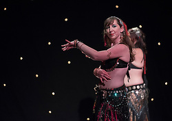 Dabke Fusion was a weekend of international bellydancing in Edinburgh this weekend. There were workshops led by internationally renowned bellydancer Deb Rubin from the USA and a showcase performance on Saturday night at the Assembly Roxy theatre, featuring a mixture of international and Scottish dancers covering a wide range of styles of dancing, belying the perception that all bellydancing is the same. Pictured: Lakshmi<br /> <br /> <br /> &copy; Jon Davey/ EEm