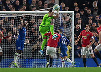 Football - 2019 / 2020 EFL Carabao (League) Cup - Fourth Round: Chelsea vs. Manchester United<br /> <br /> Sergio Romero (Manchester United) collects the high ball at Stamford Bridge <br /> <br /> COLORSPORT/DANIEL BEARHAM
