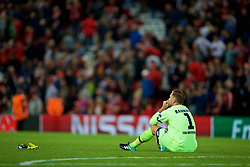 LIVERPOOL, ENGLAND - Wednesday, August 23, 2017: TSG 1899 Hoffenheim's goalkeeper Oliver Baumann looks dejected as his side lose 4-2 to Liverpool during the UEFA Champions League Play-Off 2nd Leg match between Liverpool and TSG 1899 Hoffenheim at Anfield. (Pic by David Rawcliffe/Propaganda)