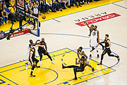 Golden State Warriors forward Kevin Durant (35) shoots a free throw against the Cleveland Cavaliers during Game 1 of the NBA Finals at Oracle Arena in Oakland, Calif., on May 31, 2018. (Stan Olszewski/Special to S.F. Examiner)