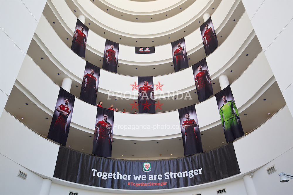CARDIFF, WALES - Tuesday, October 13, 2015: Together. Stronger. Branding at the team hotel ahead of the UEFA Euro 2016 qualifying match against Andorra. (Pic by David Rawcliffe/Propaganda)