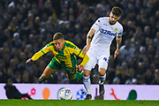 Mateusz Klich of Leeds United (43) tackles Dwight Gayle of West Bromwich Albion (16) during the EFL Sky Bet Championship match between Leeds United and West Bromwich Albion at Elland Road, Leeds, England on 1 March 2019.