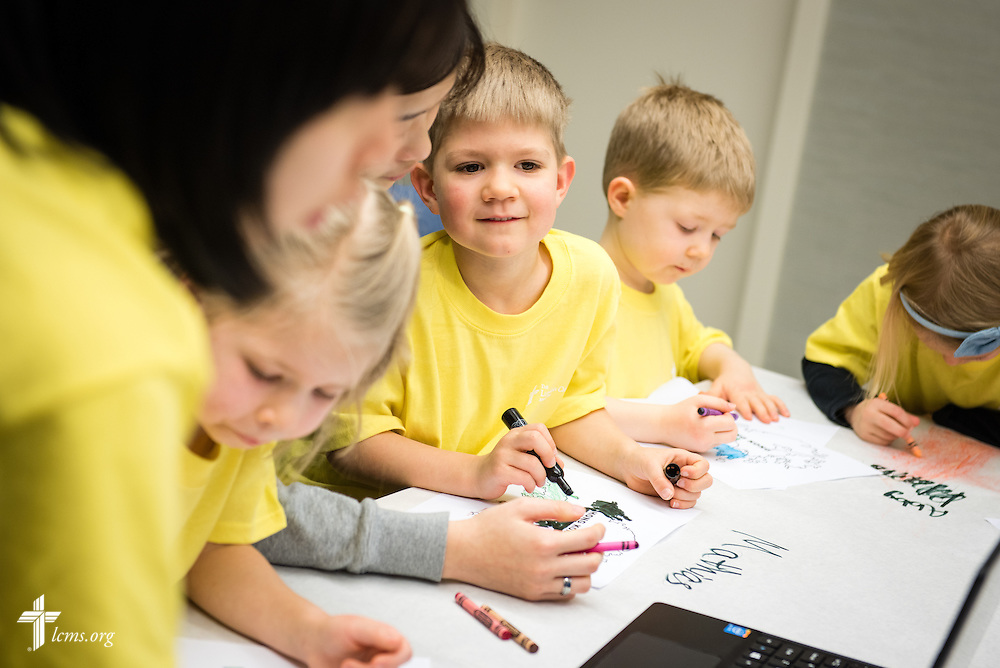 Mathias Askins joins other children as they color during missionary orientation activities at The Lutheran Church–Missouri Synod International Center on Wednesday, March 4, 2015,  in Kirkwood, Mo. LCMS Communications/Erik M. Lunsford