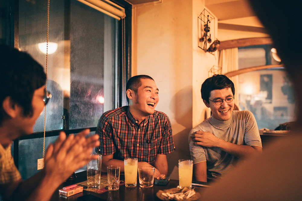 Shuhei Yoshioka and the other members of Nude Restaurant at Pub Kenneth before a show in Kobe, Japan.