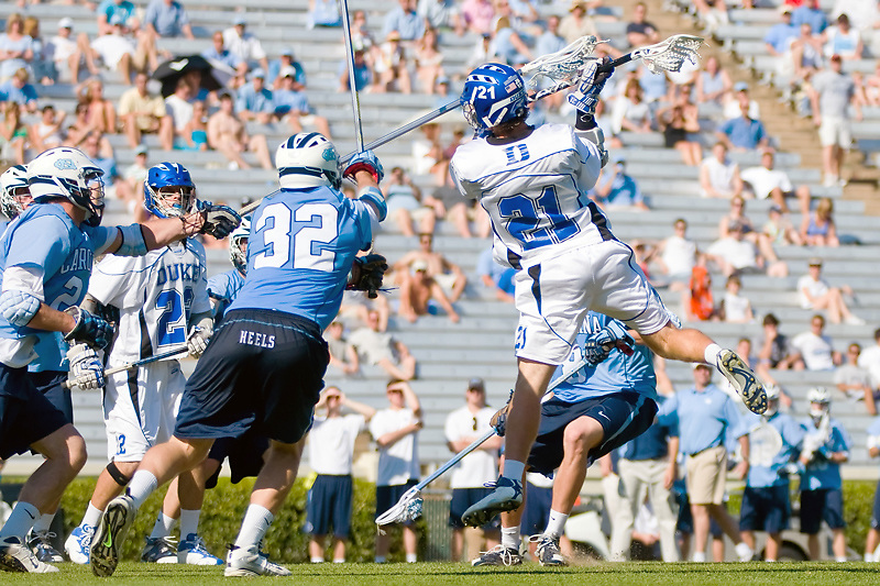 26 April 2009:Duke sophomore attack #21 Zach Howell takes a shot..