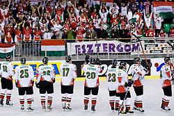 Team Hungary celebrating victory at IIHF Ice-hockey World Championships Division I Group B match between National teams of Korea and Hungary, on April 17, 2010, in Tivoli hall, Ljubljana, Slovenia. Hungary defeated Korea 4-2. (Photo by Matic Klansek Velej / Sportida)