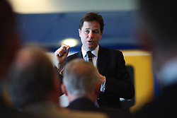 © licensed to London News Pictures. Leicester,The Walkers Stadium, UK  04/05/11. Deputy Prime Minister and Leader of the Liberal Democrats, Nick Clegg is visiting Leicester South to take part in a Q&A hosted by Leicestershire Chamber of Commerce alongside Liberal Democrat by-election candidate Zuffar Haq.  Photo credit should read Michael Zemanek/LNP