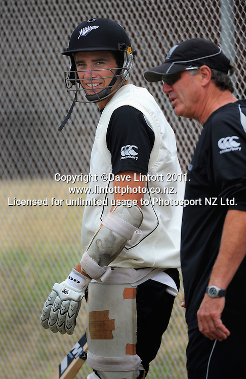 Tim Southee with coach John Wright. Black Caps cricket training at Allied Prime Basin Reserve, Wellington, New Zealand on Thursday, 13 January 2011. Photo: Dave Lintott / photosport.co.nz